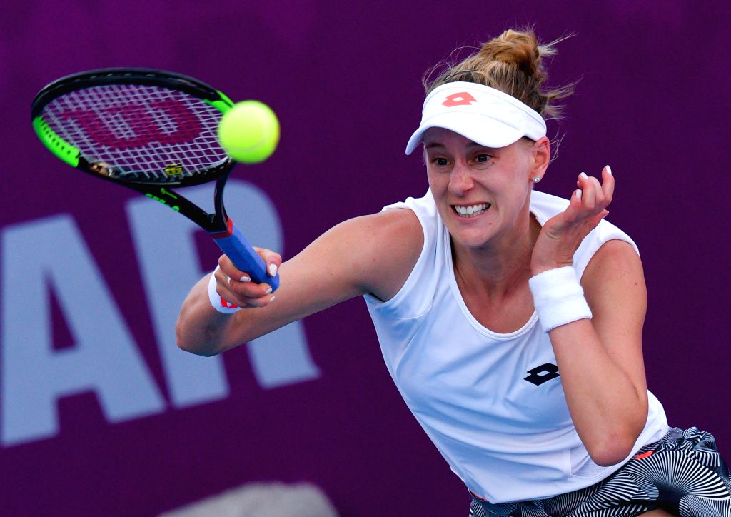DOHA, Feb. 13, 2019 - Alison Riske of the United States hits a return during the women's singles first round match between Alison Riske of the United States and Polona Hercog of Slovenia at the 2019 ...