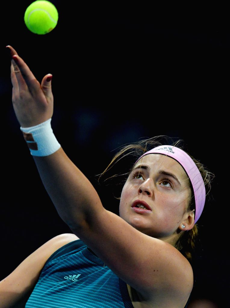 DOHA, Feb. 13, 2019 - Jelena Ostapenko of Latvia serves during the women's singles first round match between Jelena Ostapenko of Latvia and Mihaela Buzarnescu of Romania at the 2019 WTA Qatar Open in ...