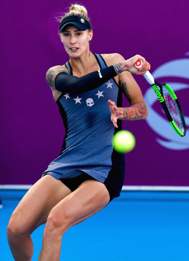 DOHA, Feb. 13, 2019 - Polona Hercog of Slovenia hits a return during the women's singles first round match between Alison Riske of the United States and Polona Hercog of Slovenia at the 2019 WTA ...