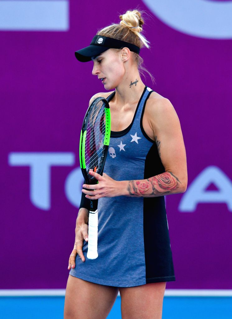 DOHA, Feb. 13, 2019 - Polona Hercog of Slovenia reacts during the women's singles first round match between Alison Riske of the United States and Polona Hercog of Slovenia at the 2019 WTA Qatar Open ...
