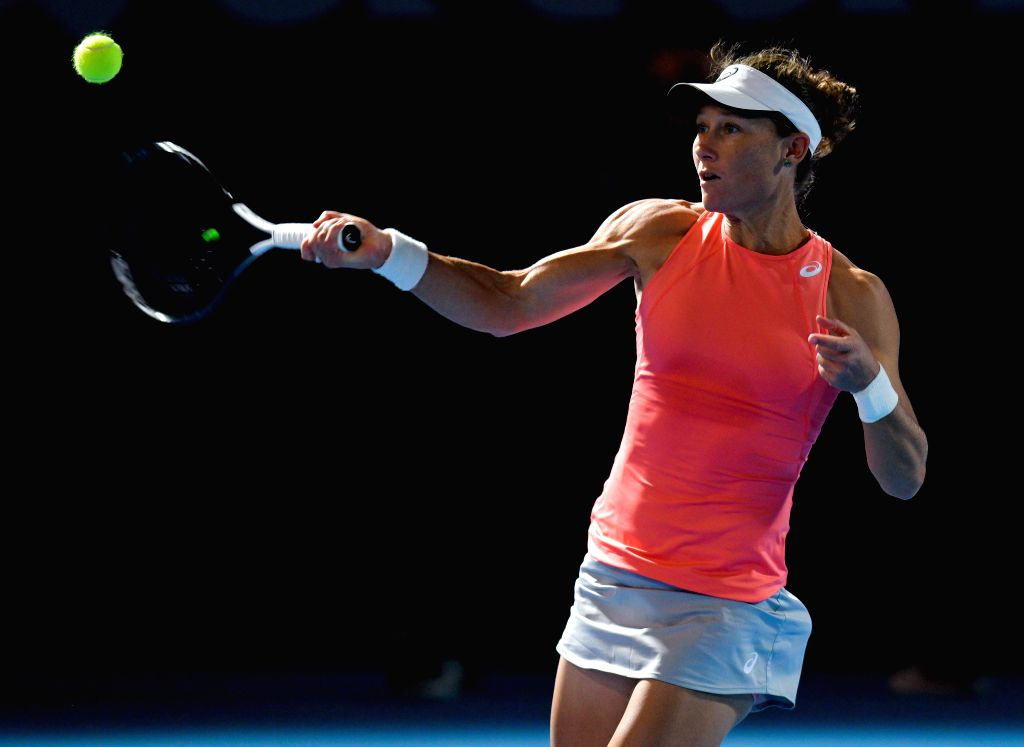 DOHA, Feb. 13, 2019 - Samantha Stosur of Australia hits a return during the women's singles first round match against Karolina Muchova of the Czech Republic at the 2019 WTA Qatar Open in Doha, Qatar, ...