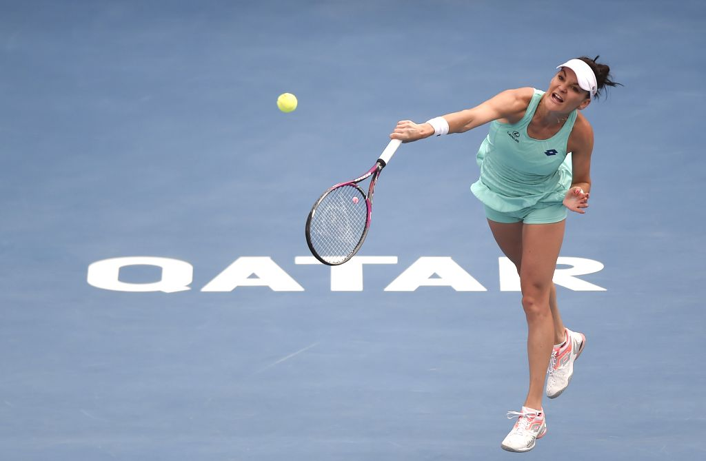 DOHA, Feb. 14, 2018 - Agnieszka Radwanska of Poland serves the ball during the single's second round match against Petra Kvitova of Czech Republic at the 2018 WTA Qatar Open in Doha, Qatar, on Feb. ...