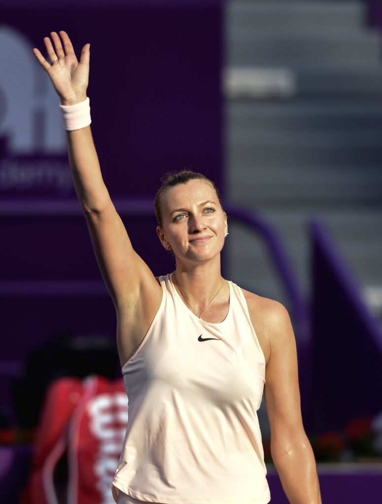 DOHA, Feb. 14, 2018 - Petra Kvitova of Czech Republic greets the audiences during the single's first round match against Cagla Buyukakcay of Turkey at the 2018 WTA Qatar Open in Doha, Qatar, on Feb. ...