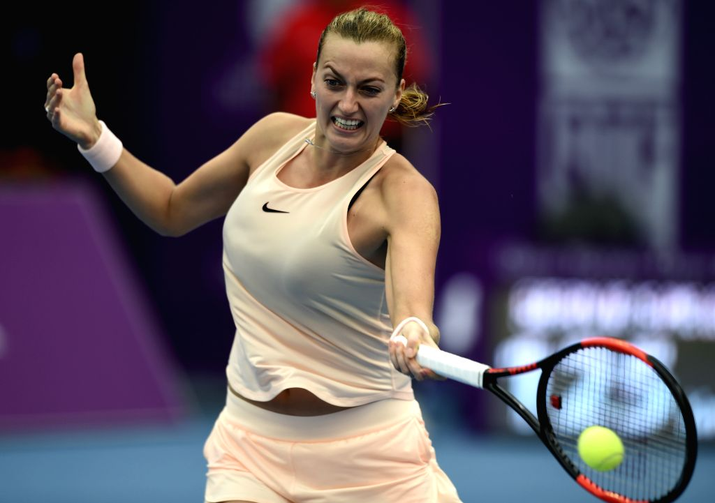 DOHA, Feb. 14, 2018 - Petra Kvitova of Czech Republic returns the ball during the single's second round match against Agnieszka Radwanska of Poland at the 2018 WTA Qatar Open in Doha, Qatar, on Feb. ...