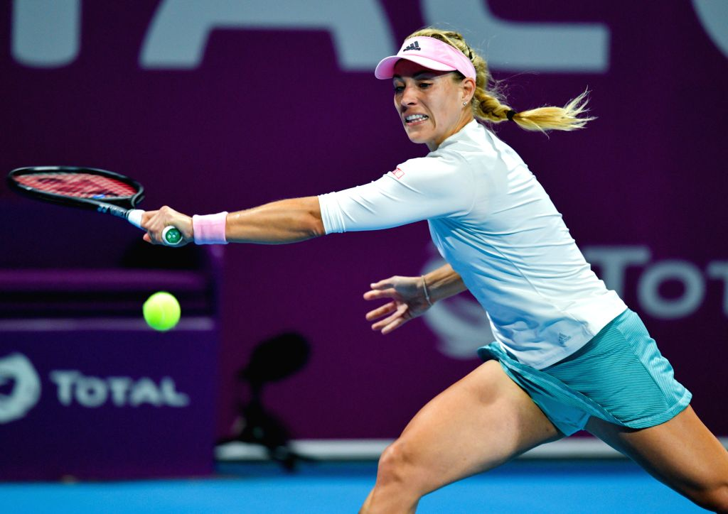 DOHA, Feb. 14, 2019 - Angelique Kerber of Germany hits a return during the women's singles second round match between Angelique Kerber of Germany and Anett Kontaveit of Estonia at the 2019 WTA Qatar ...