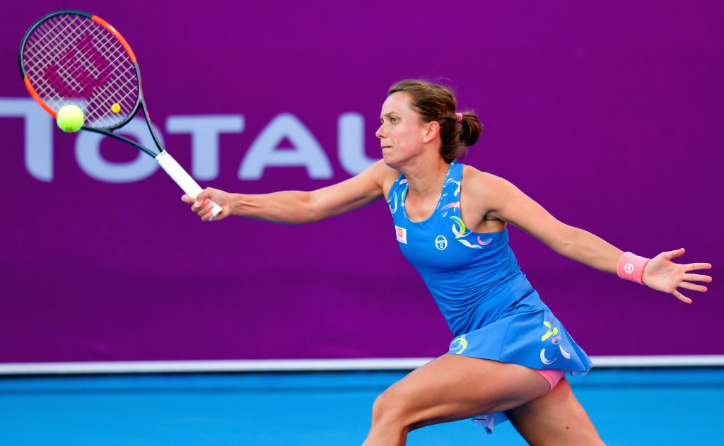 DOHA, Feb. 14, 2019 - Barbora Strycova of Czech Republic hits a return during the women's singles second round match between Anna Blinkova of Russia and Barbora Strycova of Czech Republic at the 2019 ...