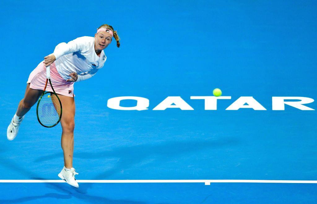 DOHA, Feb. 14, 2019 - Kiki Bertens of the Netherlands serves during the women's singles second round match between Kiki Bertens of the Netherlands and Carla Suarez Navarro of Spain at the 2019 WTA ...