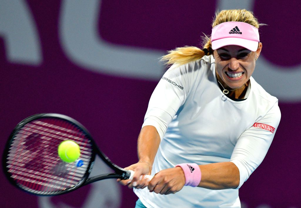 DOHA, Feb. 15, 2019 - Angelique Kerber of Germany hits a return during the women's singles quarterfinal between Barbora Strycova of the Czech Republic and Angelique Kerber of Germany at the 2019 WTA ...