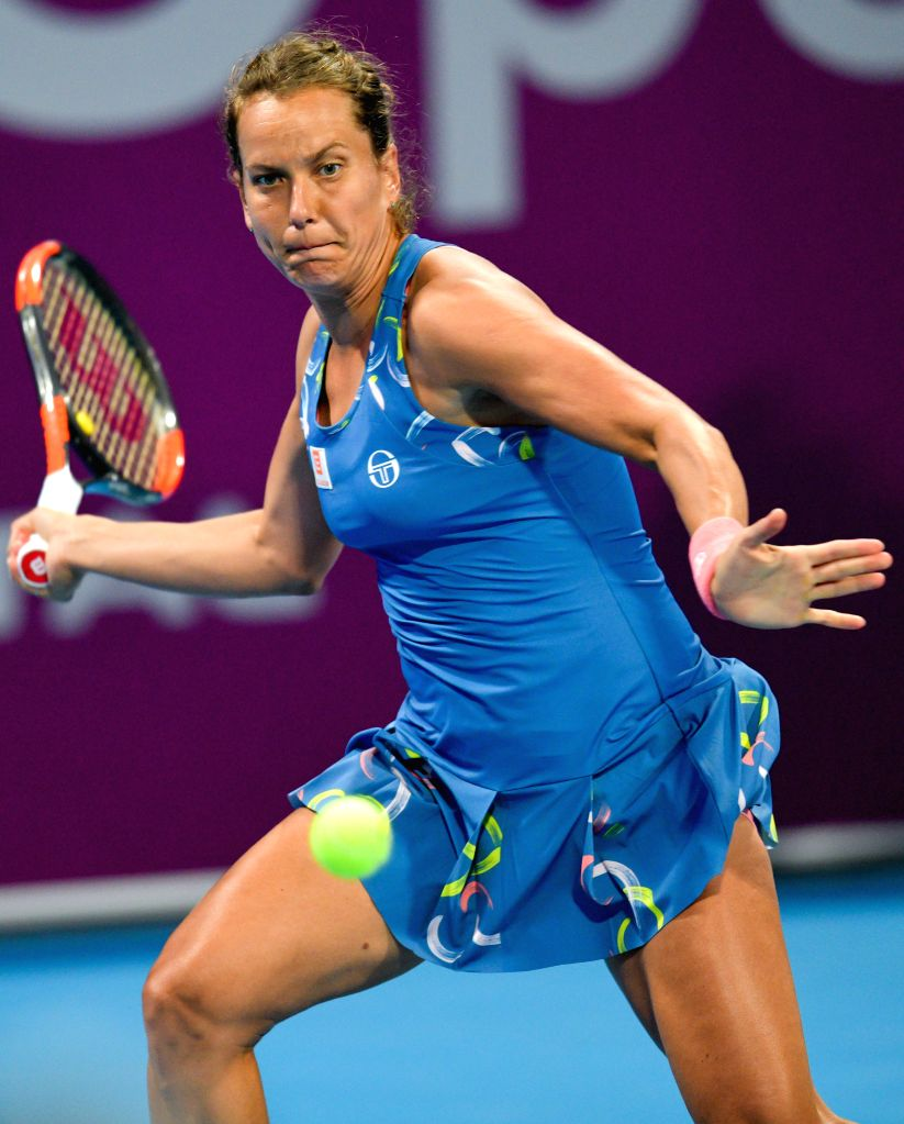 DOHA, Feb. 15, 2019 - Barbora Strycova of the Czech Republic hits a return during the women's singles quarterfinal between Barbora Strycova of the Czech Republic and Angelique Kerber of Germany at ...