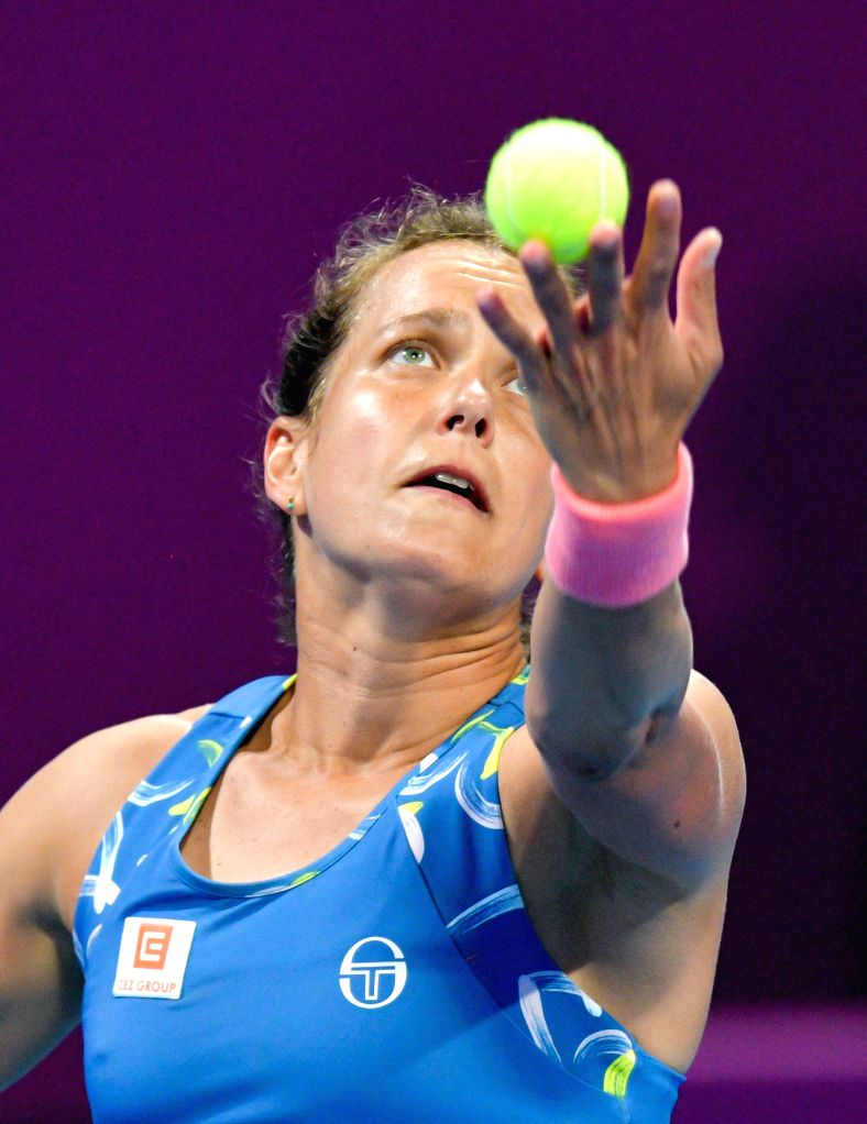 DOHA, Feb. 15, 2019 - Barbora Strycova of the Czech Republic serves during the women's singles quarterfinal between Barbora Strycova of the Czech Republic and Angelique Kerber of Germany at the 2019 ...