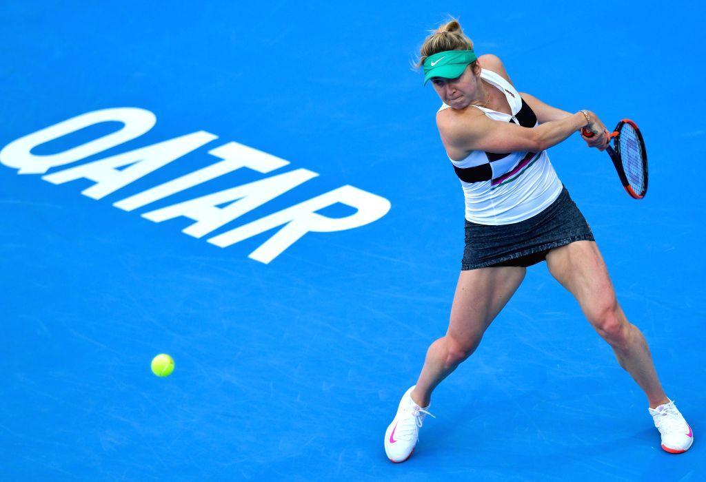 DOHA, Feb. 15, 2019 - Elina Svitolina of Ukraine hits a return during the women's singles quarterfinal between Elina Svitolina of Ukraine and Karolina Muchova of the Czech Republic at the 2019 WTA ...