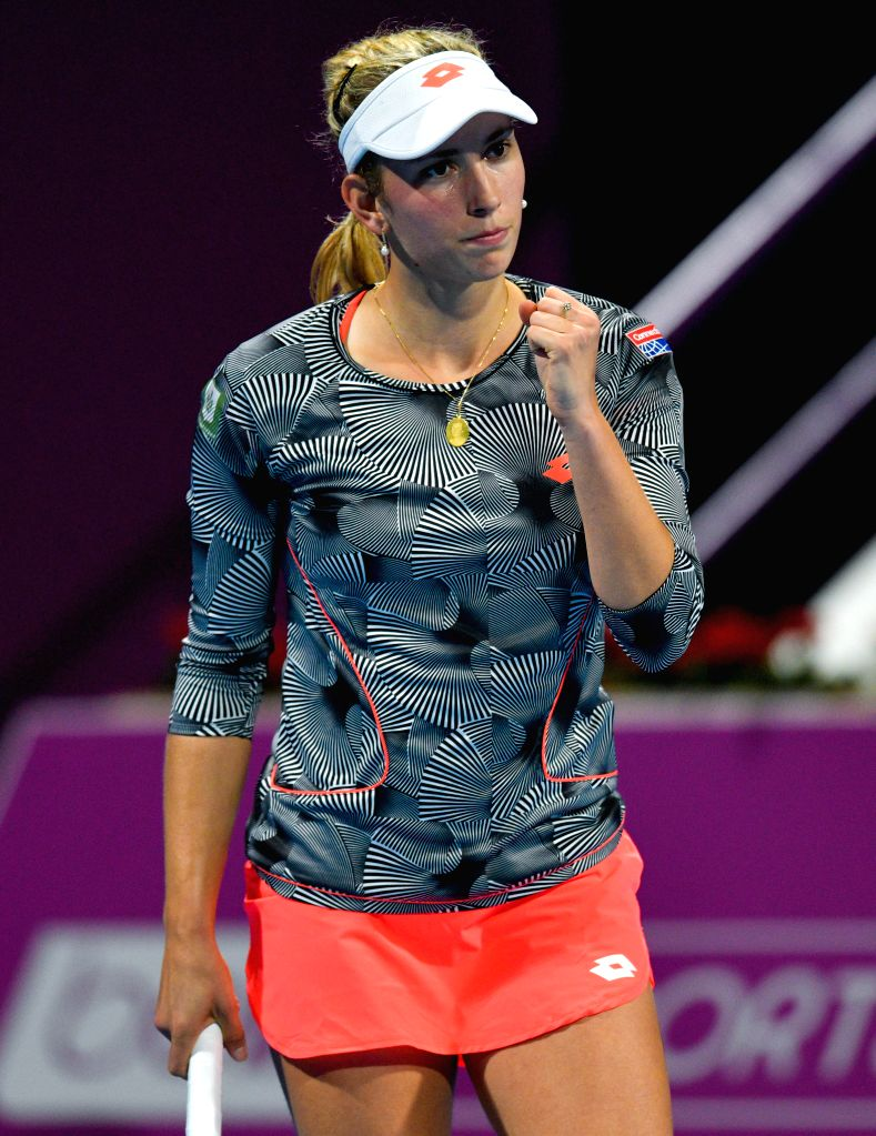 DOHA, Feb. 15, 2019 - Elise Mertens of Belgium reacts during the women's singles quarterfinal between Elise Mertens of Belgium and Kiki Bertens of the Netherlands at the 2019 WTA Qatar Open in Doha, ...