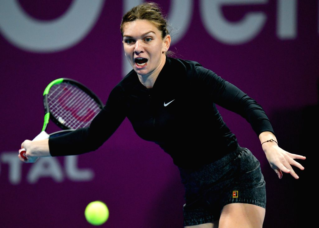 DOHA, Feb. 15, 2019 - Simona Halep of Romania hits a return during the women's singles quarterfinal between Simona Halep of Romania and Julia Goerges of Germany at the 2019 WTA Qatar Open in Doha, ...