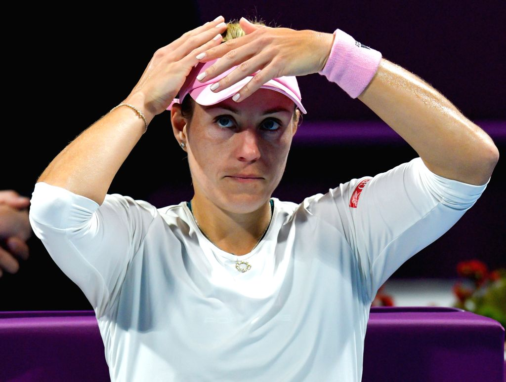 DOHA, Feb. 16, 2019 - Angelique Kerber of Germany reacts during the women's singles semifinal between Angelique Kerber of Germany and Elise Mertens of Belgium at the 2019 WTA Qatar Open in Doha, ...