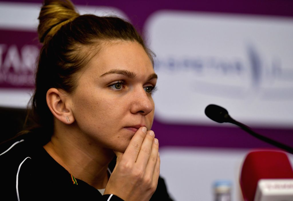 DOHA, Feb. 16, 2019 - Simona Halep of Romania reacts during a press conference after the singles semifinal between Simona Halep of Romania and Elina Svitolina of Ukraine at the 2019 WTA Qatar Open in ...