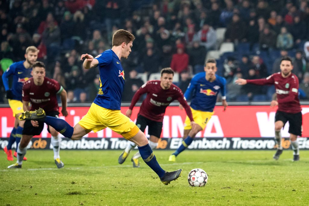DOHA, Feb. 2, 2019 - Leipzig's Marcel Halstenberg (3rd L) takes a scoring penalty kick during a German Bundesliga match between Hanover 96 and RB Leipzig, in Hanover, Germany, on Feb. 1, 2019.