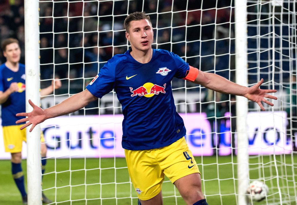 DOHA, Feb. 2, 2019 - Leipzig's Willi Orban celebrates his scoring during a German Bundesliga match between Hanover 96 and RB Leipzig, in Hanover, Germany, on Feb. 1, 2019.
