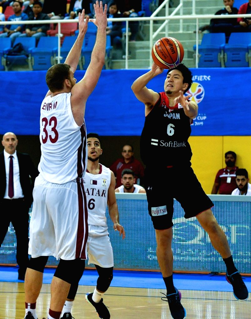 DOHA, Feb. 25, 2019 - Makoto Hiejima (R) of Japan competes during the FIBA Basketball World Cup 2019 Asian Qualifiers Group F match between Qatar and Japan in Doha, Qatar, Feb. 24, 2019. Japan won ...