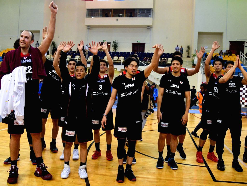 DOHA, Feb. 25, 2019 - Players of Japan celebrate after the FIBA Basketball World Cup 2019 Asian Qualifiers Group F match between Qatar and Japan in Doha, Qatar, Feb. 24, 2019. Japan won 96-48.