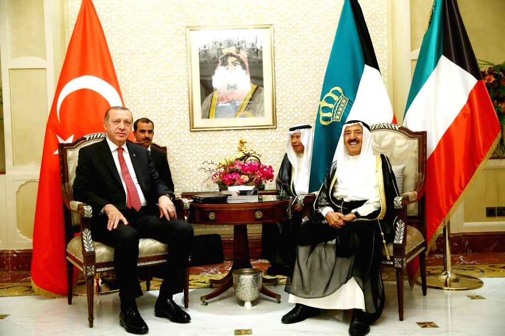 DOHA, July 25, 2017 - Kuwait's Emir Sheikh Sabah Al-Ahmad Al-Sabah (Front R) meets with visiting Turkish President Recep Tayyip Erdogan (Front L) in Kuwait City, Kuwait, July 23, 2017. Turkish ... - Sheikh Sabah A
