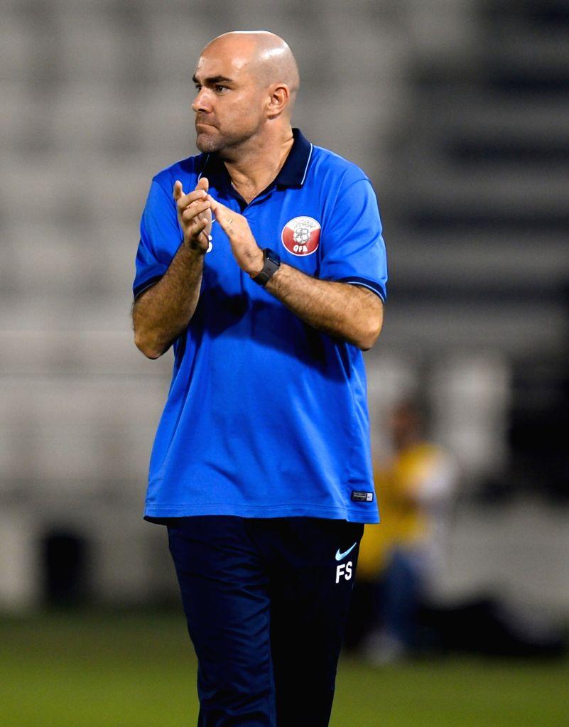 DOHA, June 16, 2017 - Qatar 's head coach Felix Sanchez reacts during a U22 International friendly soccer match against Singapore at the Jassim Bin Hamad Stadium in Doha, capital of Qatar, June 15, ...