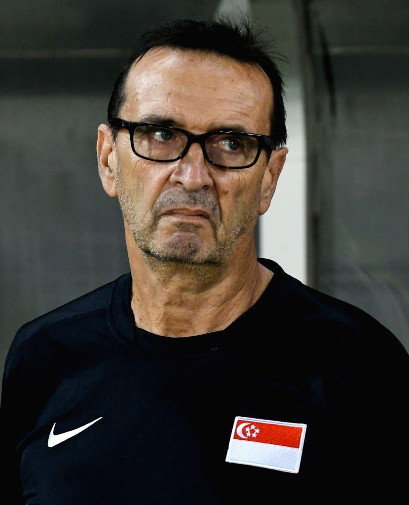 DOHA, June 16, 2017 - Singapore's head coach Christophe Chaintreuilis reacts during a U22 International friendly soccer match against Qatar at the Jassim Bin Hamad Stadium in Doha, capital of Qatar, ...