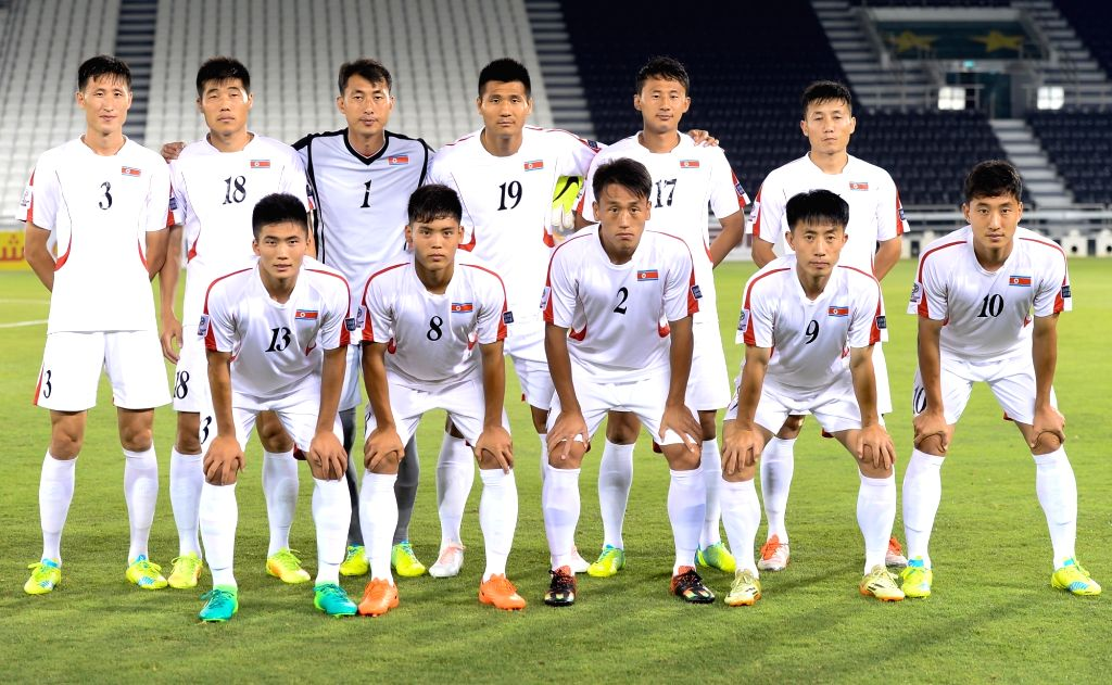 DOHA, June 7, 2017 - Players of DPRK line up prior to a friendly soccer match between Qatar and the Democratic People's Republic of Korea (DPRK) at the Jassim bin Hamad Stadium in Doha, Qatar, June ...