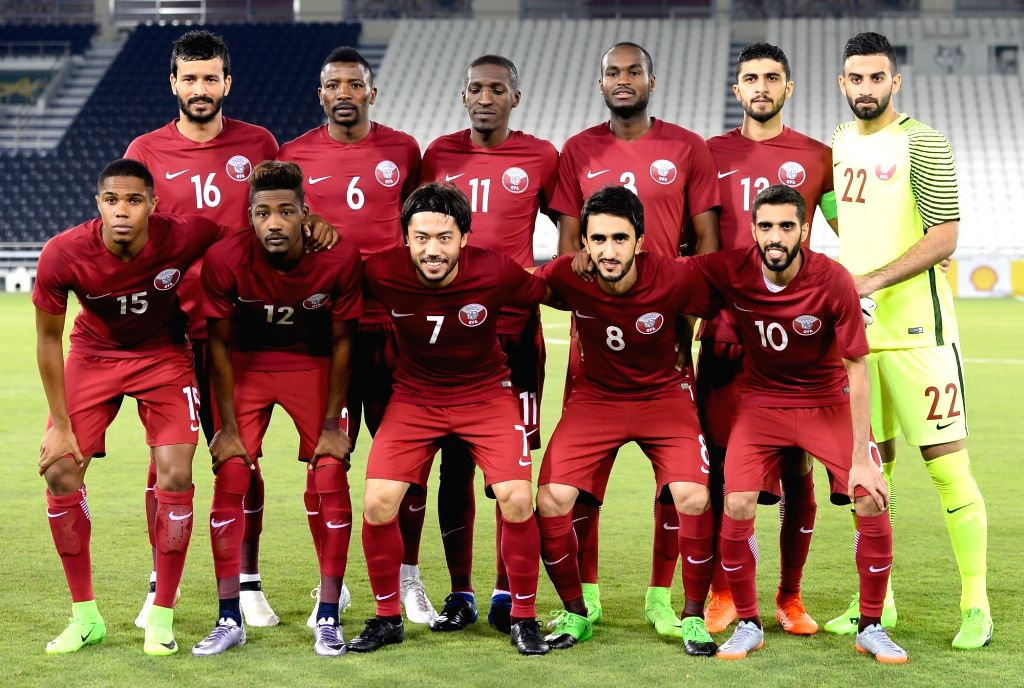DOHA, June 7, 2017 - Players of Qatar line up ahead of a friendly soccer match between Qatar and the Democratic People's Republic of Korea (DPRK) at the Jassim bin Hamad Stadium in Doha, Qatar, June ...
