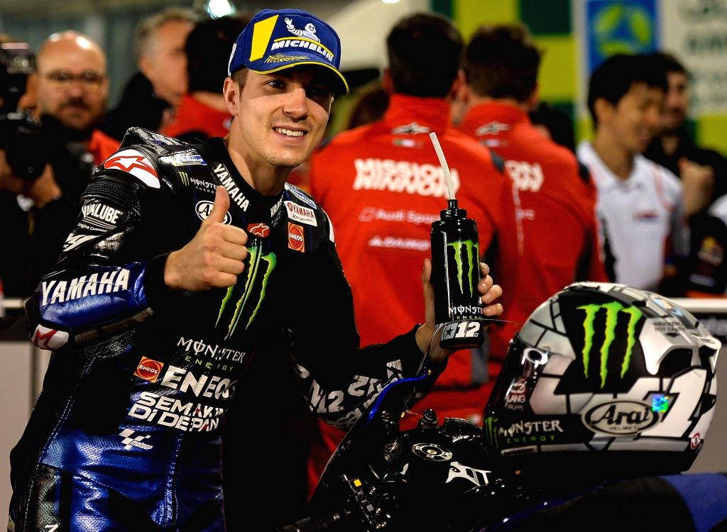 DOHA, March 10, 2019 - Spanish MotoGP rider Maverick Vinales of Monster Energy Yamaha MotoGP celebrates the pole position after the MotoGP qualifying session of 2019 MotoGP Grand Prix of Qatar in ...