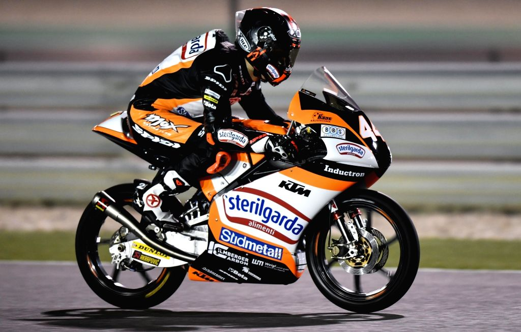 DOHA, March 10, 2019 (Xinhua) -- Spanish Moto3 rider Aron Canet of Sterilgarda Max Racing Team competes during the Moto3 qualifying 2 session of 2019 MotoGP Grand Prix of Qatar in Losail Circuit of Doha, capital of Qatar, on March 9, 2019. (Xinhua/Ni