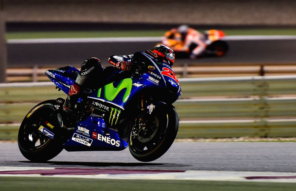 DOHA, March 11, 2017 - Movistar Yamaha MotoGP's Spanish rider Maverick Vinales takes part in the pre-season test at the Losail International Circuit in Qatar's capital Doha on March 10, 2017, ahead ...