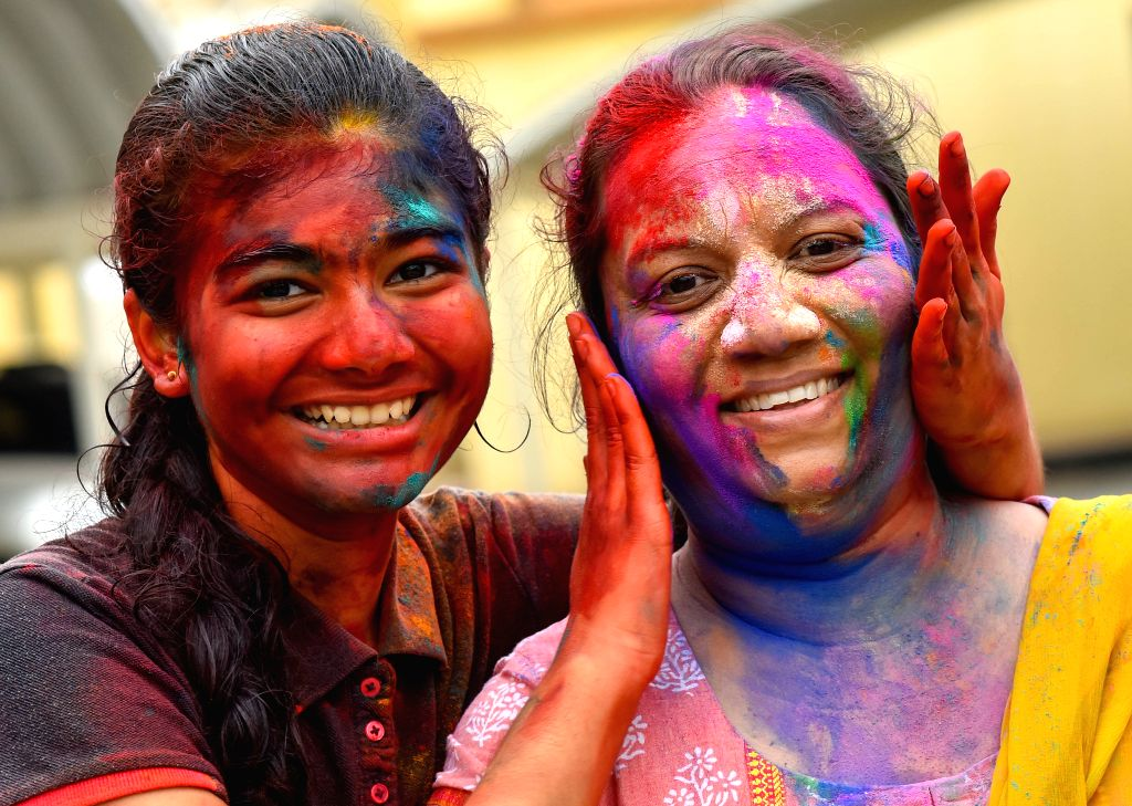 DOHA, March 14, 2017 - Girls of Indian community in Qatar are covered in colored powder during celebrations of the Holi, the Indian festival of Colors, in Doha, capital of Qatar, on March 13, 2017. ...