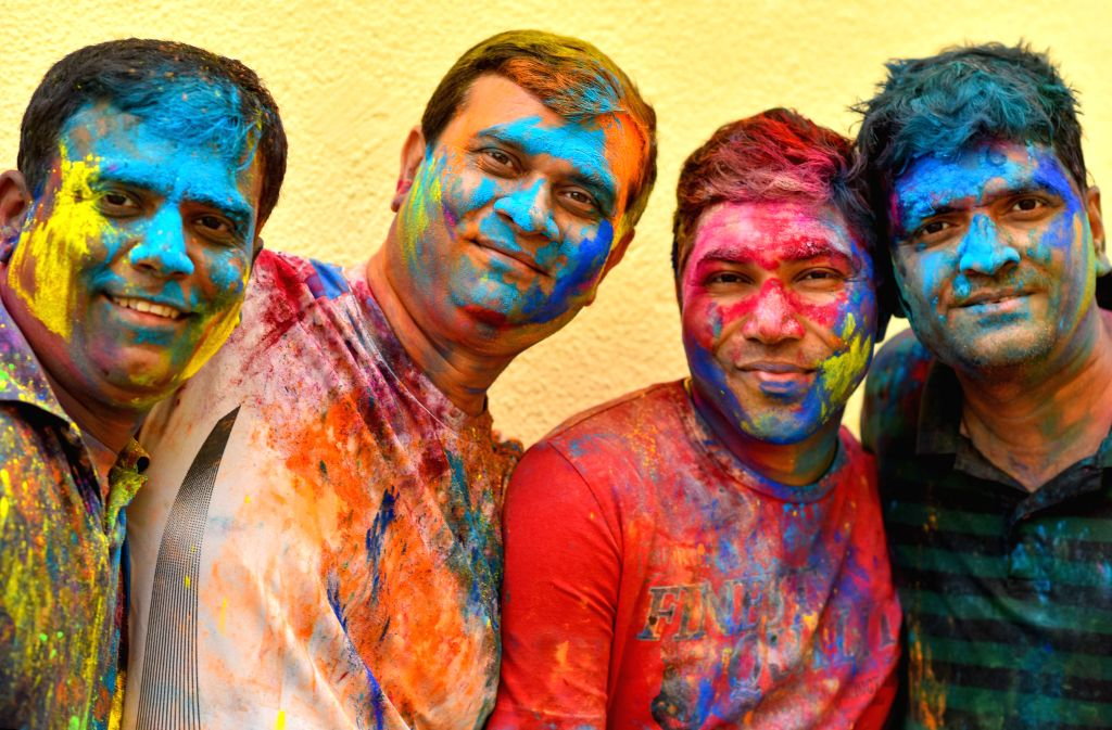 DOHA, March 14, 2017 - Men of Indian community in Qatar are covered in colored powder during celebrations of the Holi, the Indian festival of Colors, in Doha, capital of Qatar, on March 13, 2017. The ...