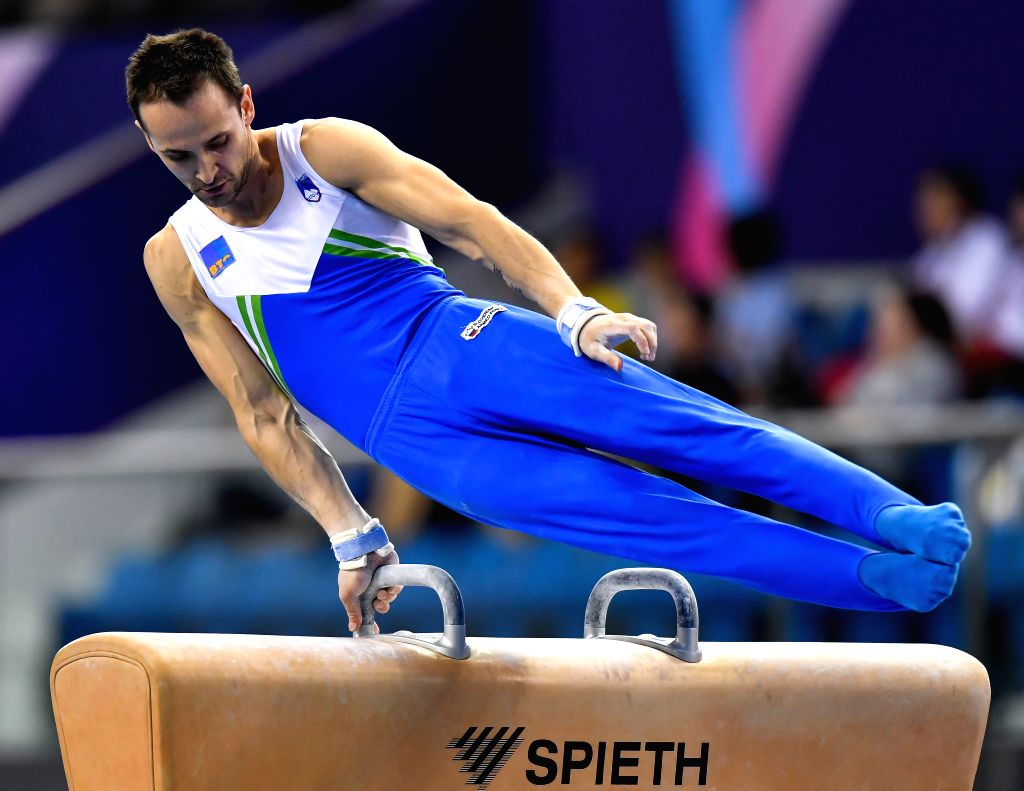 DOHA, March. 22, 2018 - Bertoncelj Saso of Slovenia competes during the men's Pommel Horse qualifying round of the 11th FIG Artistic Gymnastics World Cup in Doha, Capital of Qatar, on March 21, 2018.