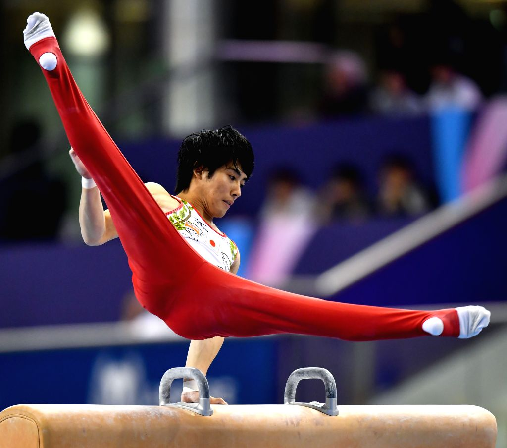 DOHA, March. 22, 2018 - Ryohei Kato of Japan competes during the men's Pommel Horse qualifying round of the 11th FIG Artistic Gymnastics World Cup in Doha, Capital of Qatar, on March 21, 2018.