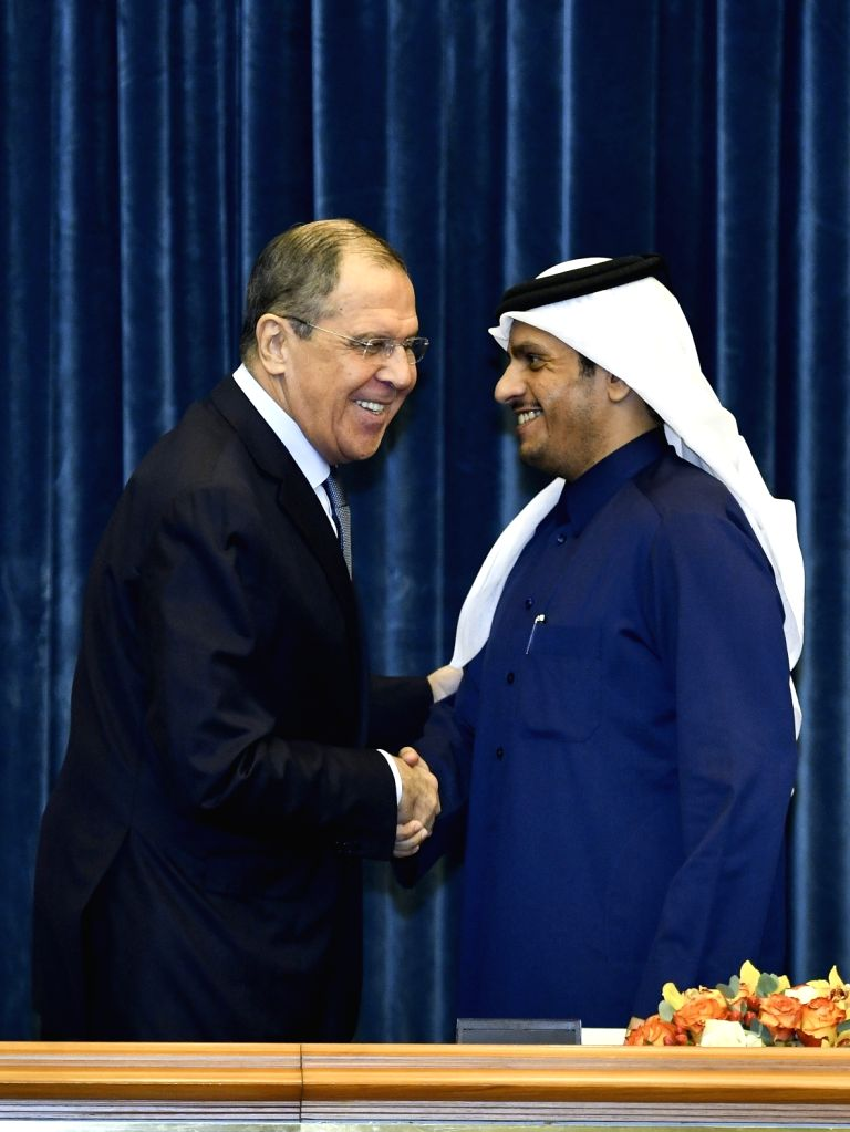 DOHA, March 5, 2019 - Russian Foreign Minister Sergei Lavrov (L) shakes hands with Qatari Deputy Prime Minister and Foreign Minister Sheikh Mohammed bin Abdulrahman Al-Thani after a joint press ... - Sergei Lavrov and Mohammed