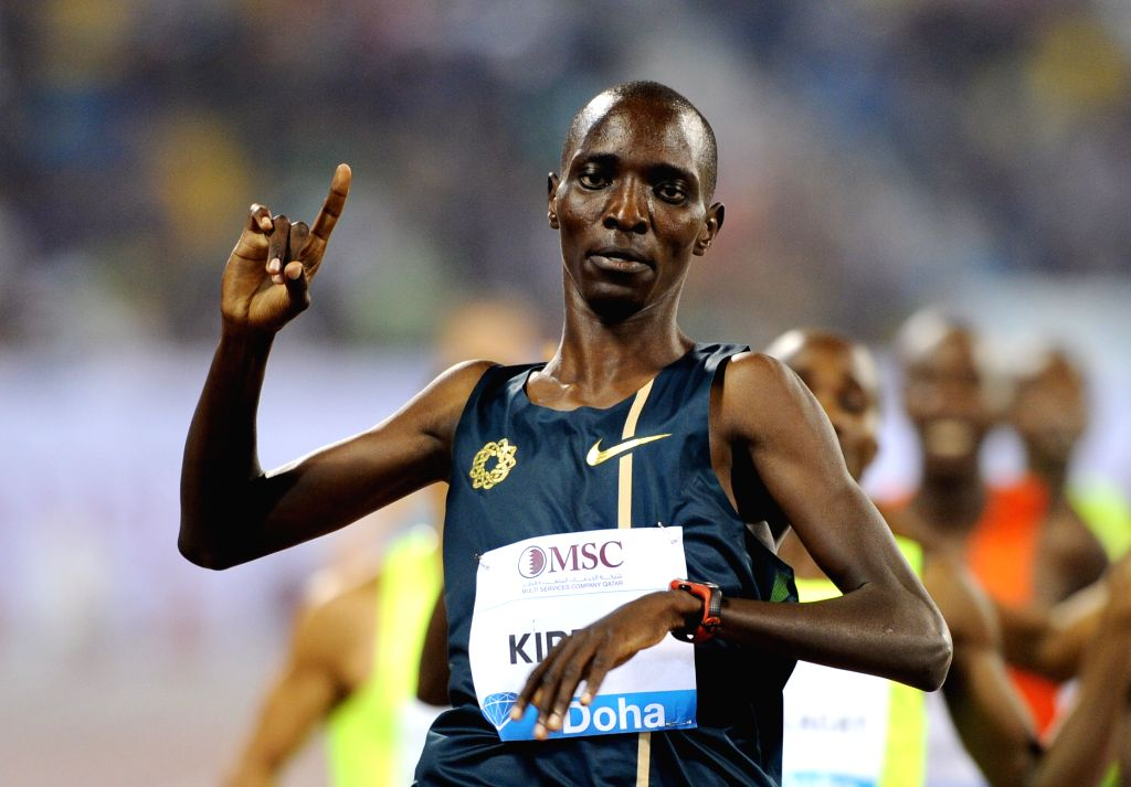 DOHA, May 10, 2014 (Xinhua) -- Asbel Kiprop of Kenya celebrates after winning the men's 1500 Metres  final at the IAAF Diamond League in Doha, capital of Qatar, May 9, 2014. Kiprop claimed the title of the event with 3 minutes 29.18 seconds. (Xinhua/