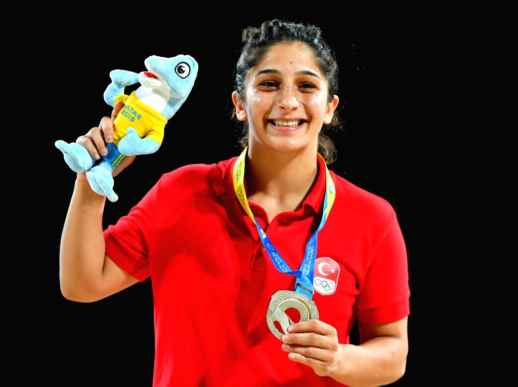 DOHA, Oct. 16, 2019 - Silver medalist Mehlika Ozturk of Turkey poses for photos during the awarding ceremony of the women's beach wrestling 60kg at the 1st ANOC World Beach Games Qatar 2019 in Doha, ...