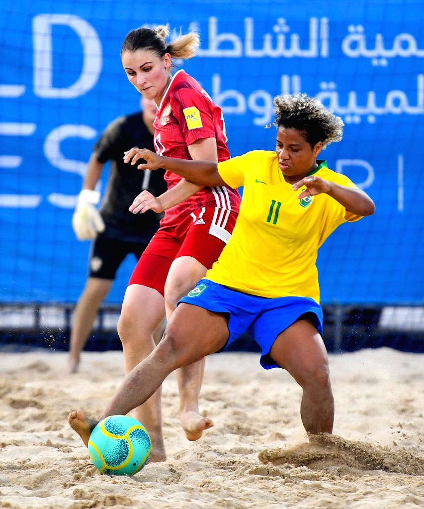 DOHA, Oct. 17, 2019 - Barboza Duarte Silva Danielle (R) of Brazil vies with Ivashkina Elena (L) of Russia during the Women's Beach Soccer Bronze Medal match between Brazil and Russia at the 1st ANOC ...