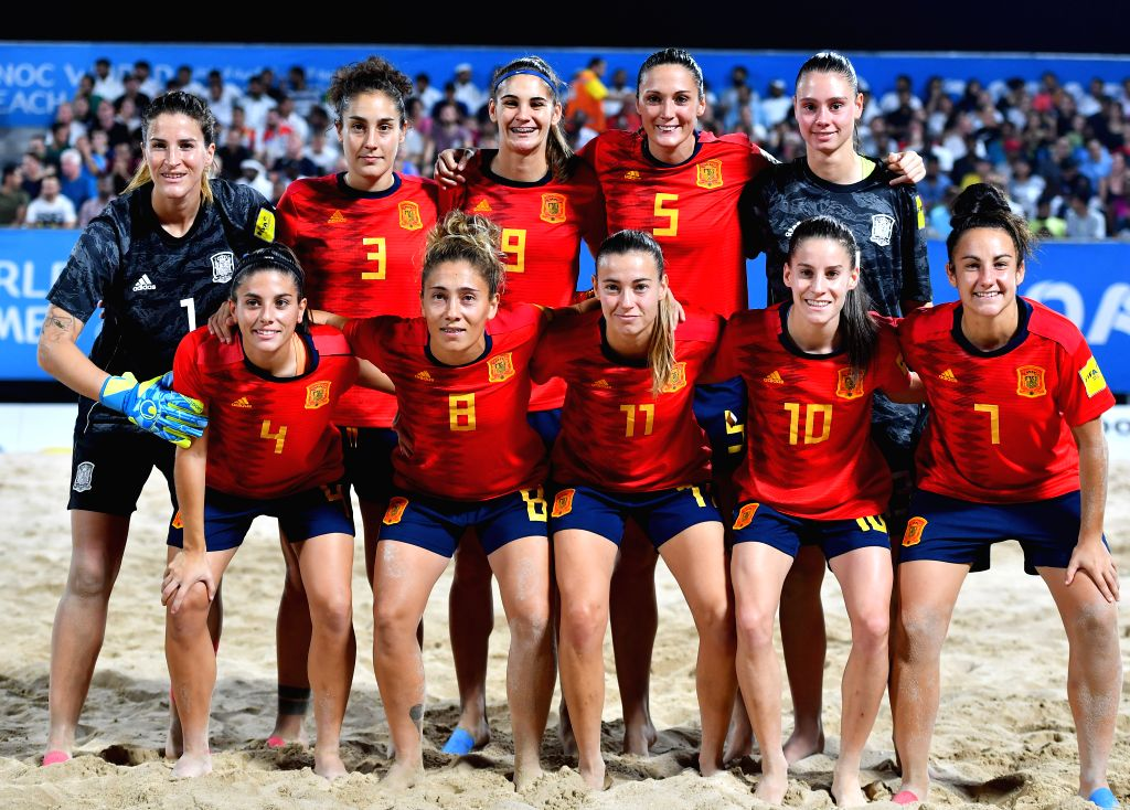 DOHA, Oct. 17, 2019 - Players of Spain pose for photos before the final of women's beach soccer at the 1st ANOC World Beach Games in Doha, capital of Qatar, Oct. 16, 2019.