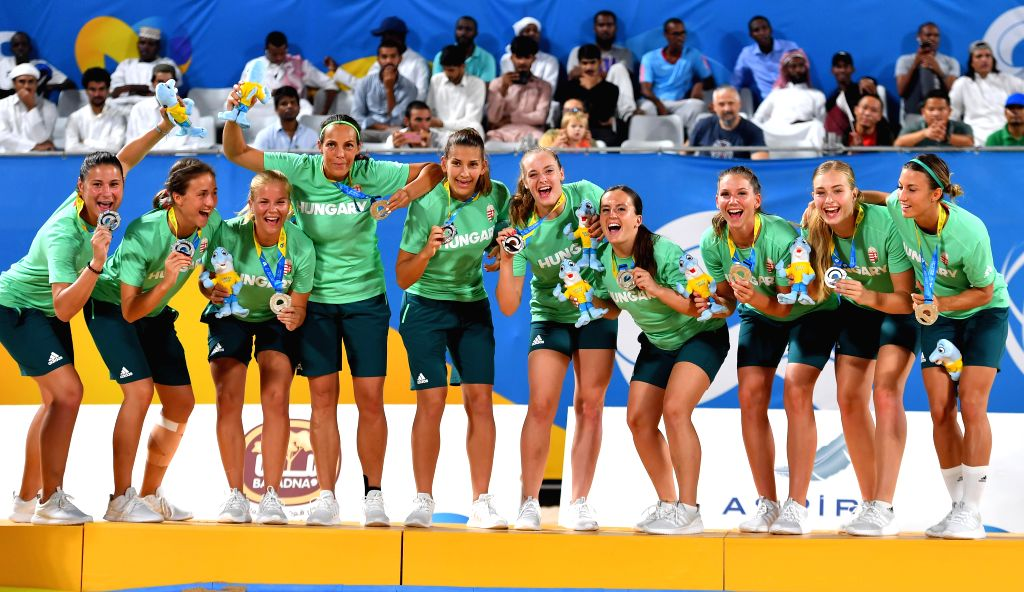 DOHA, Oct. 17, 2019 - Silver medalists, players of Hungary, celebrate during the awarding ceremony of the women's beach handball at the 1st ANOC World Beach Games Qatar 2019 in Doha, capital of ...