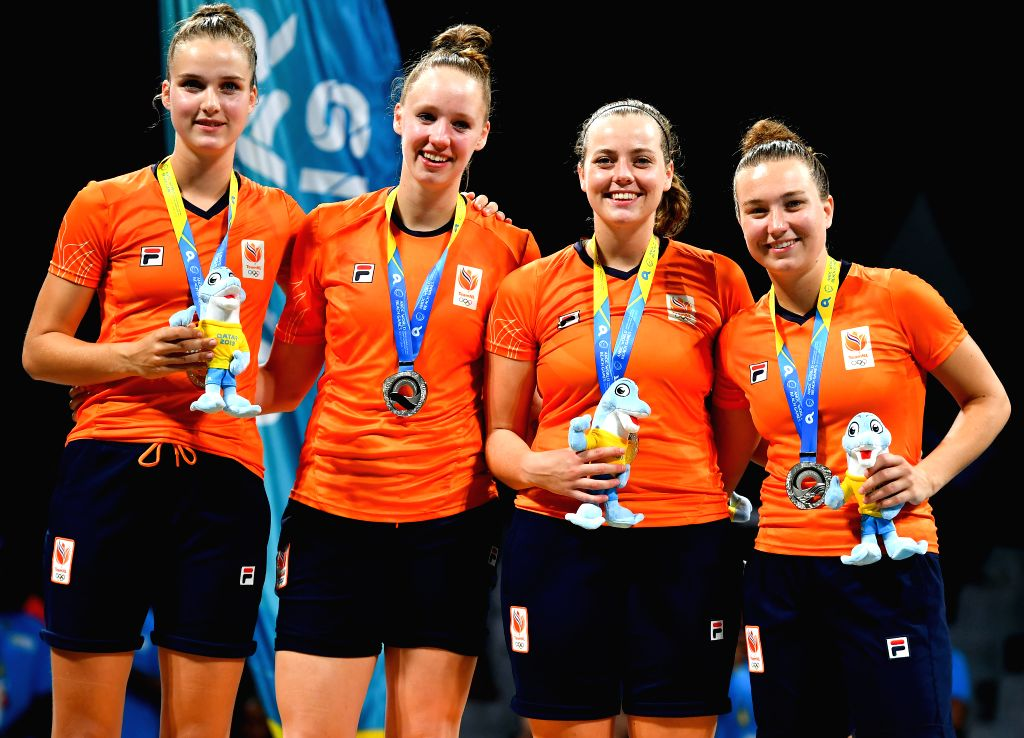 DOHA, Oct. 17, 2019 - Silver medalists, players of the Netherlands pose for photos during the awarding ceremony of the 3x3 women's basketball at the 1st ANOC World Beach Games Qatar 2019 in Doha, ...