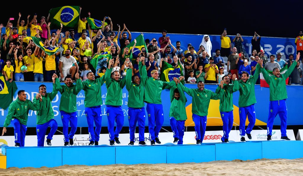 DOHA, Oct. 17, 2019 - Team Brazil celebrates winning the gold medal during the awarding ceremony of the men's Beach Soccer at the 1st ANOC World Beach Games Qatar 2019 in Doha, capital of Qatar, on ...