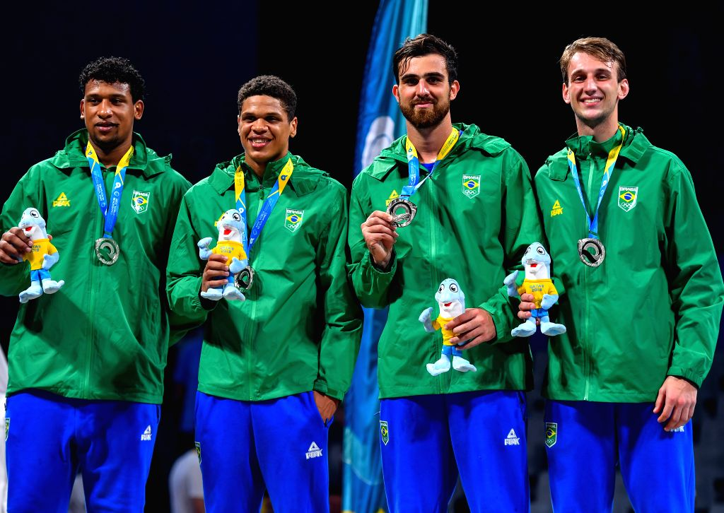 DOHA, Oct. 17, 2019 - Team Brazil poses for photos after winning the silver medal during the awarding ceremony of the 3x3 men's basketball at the 1st ANOC World Beach Games Qatar 2019 in Doha, ...