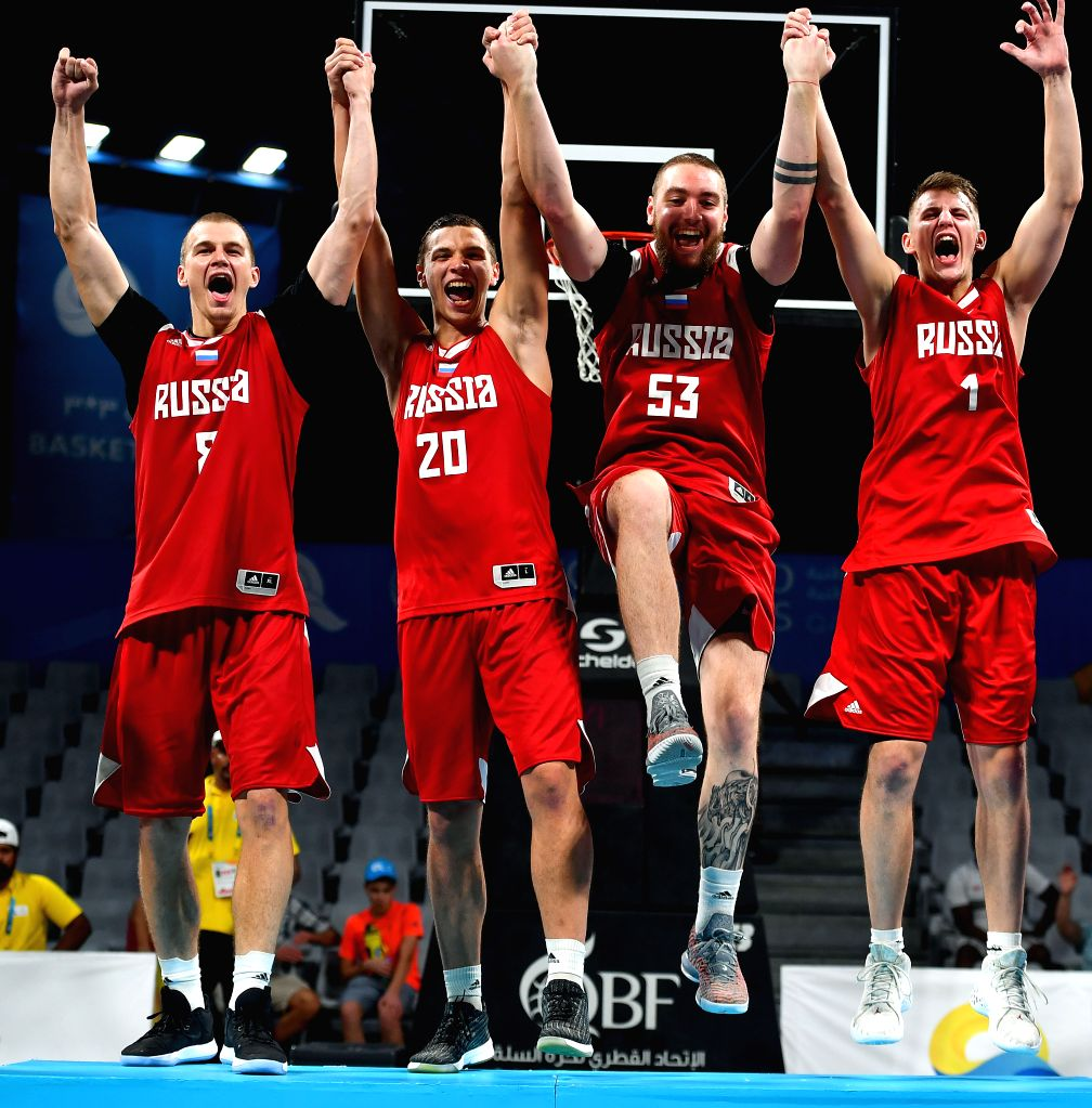 DOHA, Oct. 17, 2019 - Team Russia celebrates after winning the gold medal during the awarding ceremony of the 3x3 men's basketball at the 1st ANOC World Beach Games Qatar 2019 in Doha, capital of ...