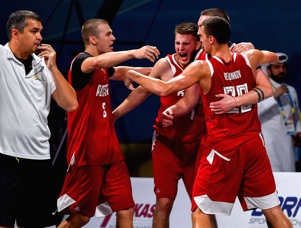 DOHA, Oct. 17, 2019 - Team Russia celebrates after the final of 3x3 men's basketball at the 1st ANOC World Beach Games Qatar 2019 in Doha, capital of Qatar, Oct. 16, 2019.