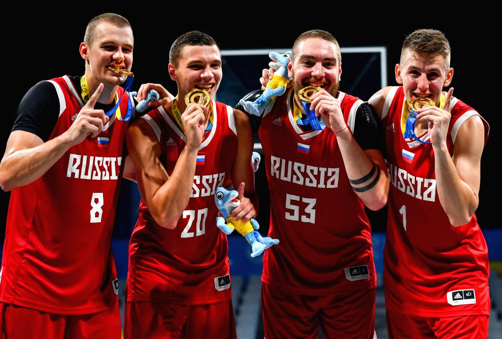 DOHA, Oct. 17, 2019 - Team Russia poses for photos after winning the gold medal during the awarding ceremony of the 3x3 men's basketball at the 1st ANOC World Beach Games Qatar 2019 in Doha, capital ...