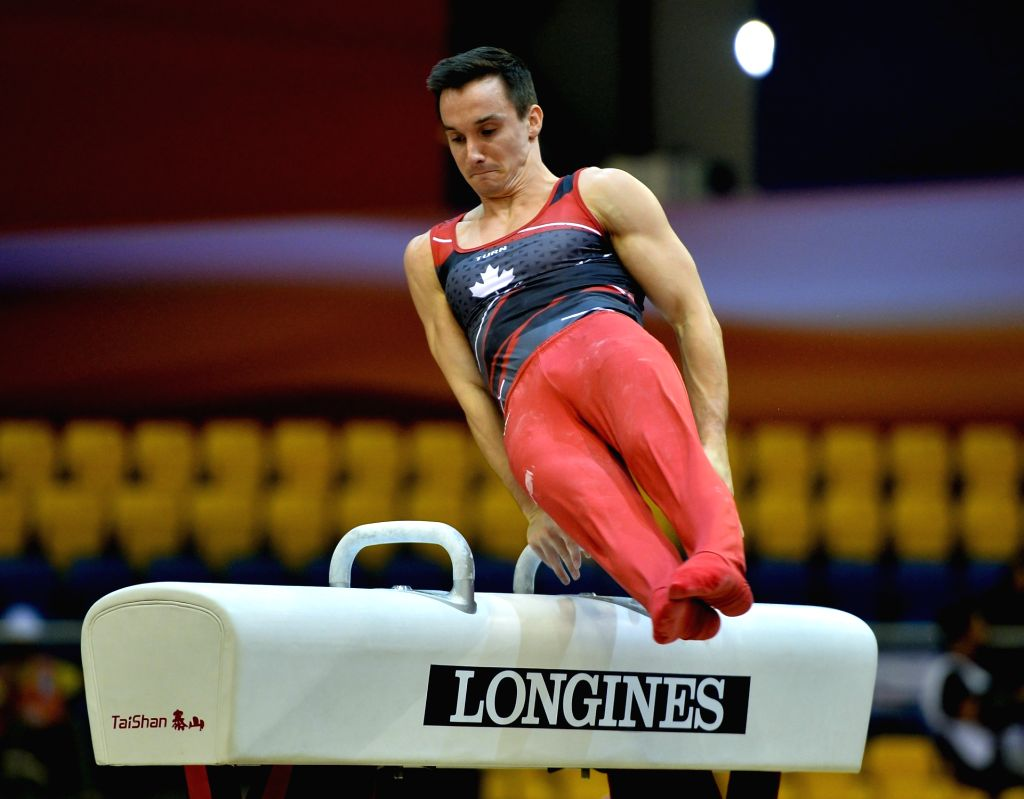 DOHA, Oct. 26, 2018 - Zachary Clay of Canada  performs on the Pommel Horse during the men's qualifying round of the 48th FIG Artisitcs Gymnastics World Championships in Doha, capital of Qatar, Oct. ...