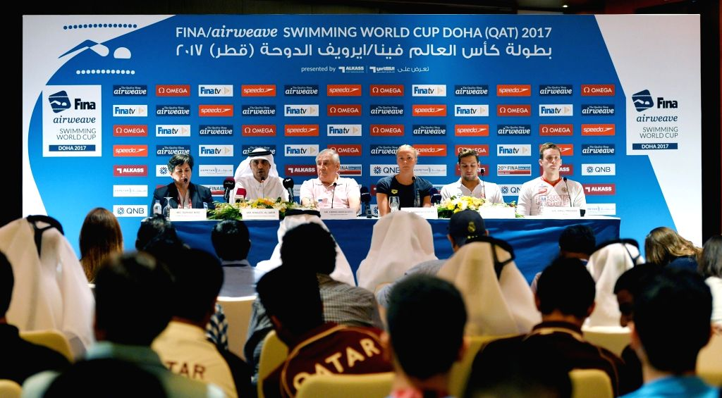 DOHA, Oct. 3, 2017 - A press conference of FINA/airweave Swimming World Cup Doha-Qatar 2017 is held in Doha, capital of Qatar, on Oct. 3, 2017.