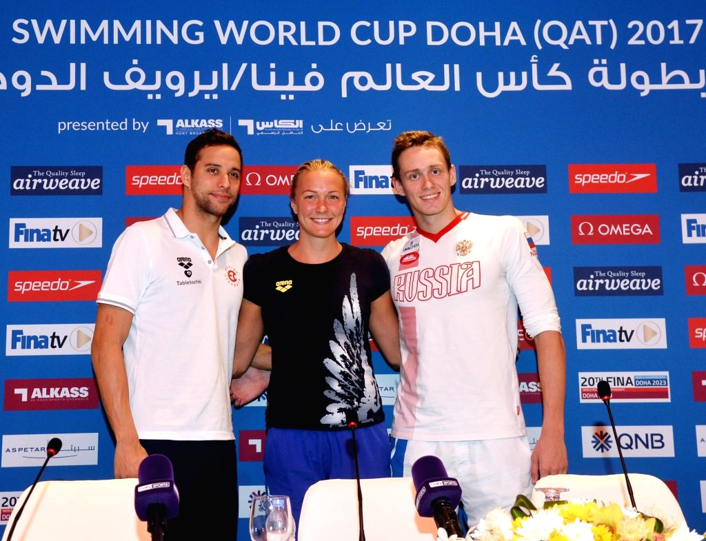 DOHA, Oct. 3, 2017 - (L to R) South African swimmer Chad Le Clos, Sweden swimmer Sarah Sjostrom and Russian swimmer Kirill Prigoda poss for picture after a press conference of FINA/airweave Swimming ...